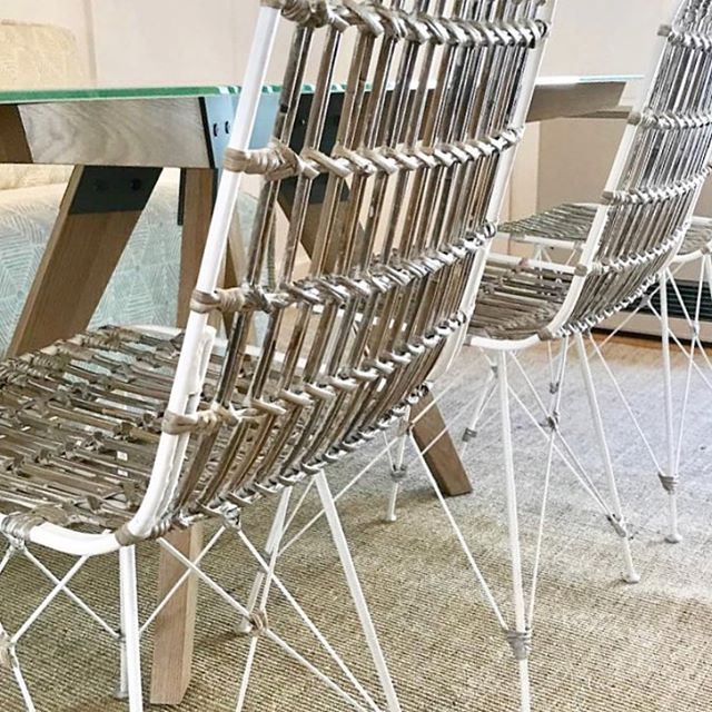 Our designer Jennifer is working on a dining room install in Dover. We're in love with these chairs...