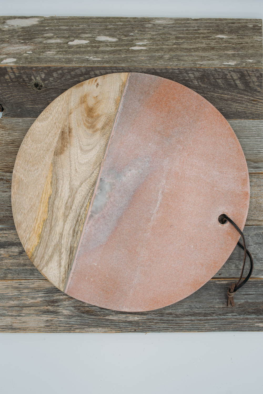 12.5 inch Pink Marble & Mango Wood Cheese Board -  $38.95