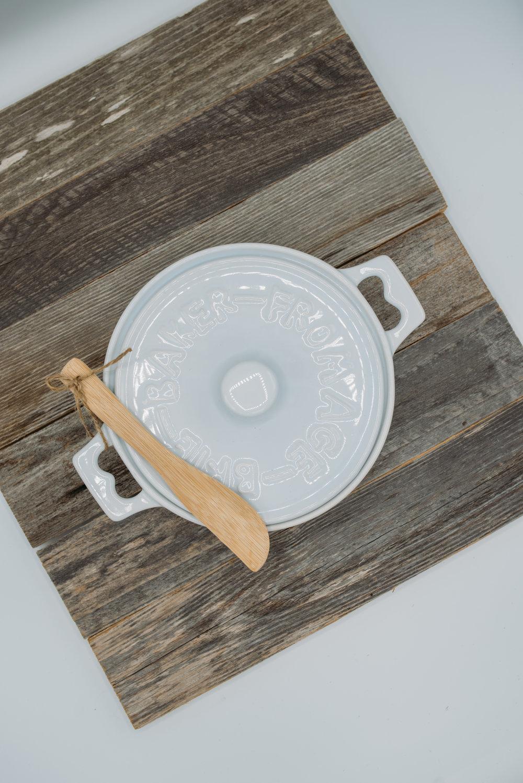 Round Stoneware Brie Baker & Wooden Spreader -  $20.95