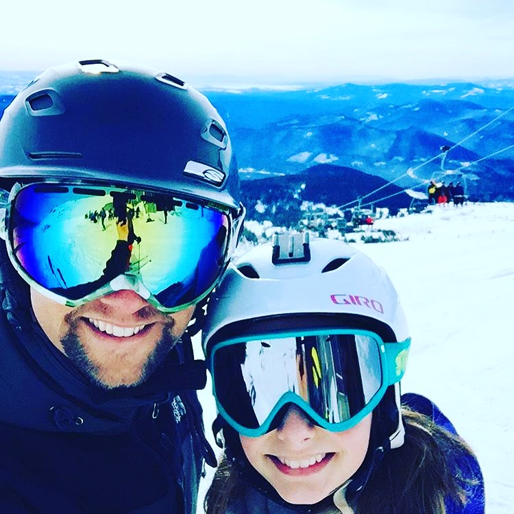 This is Brighton with her dad while skiing