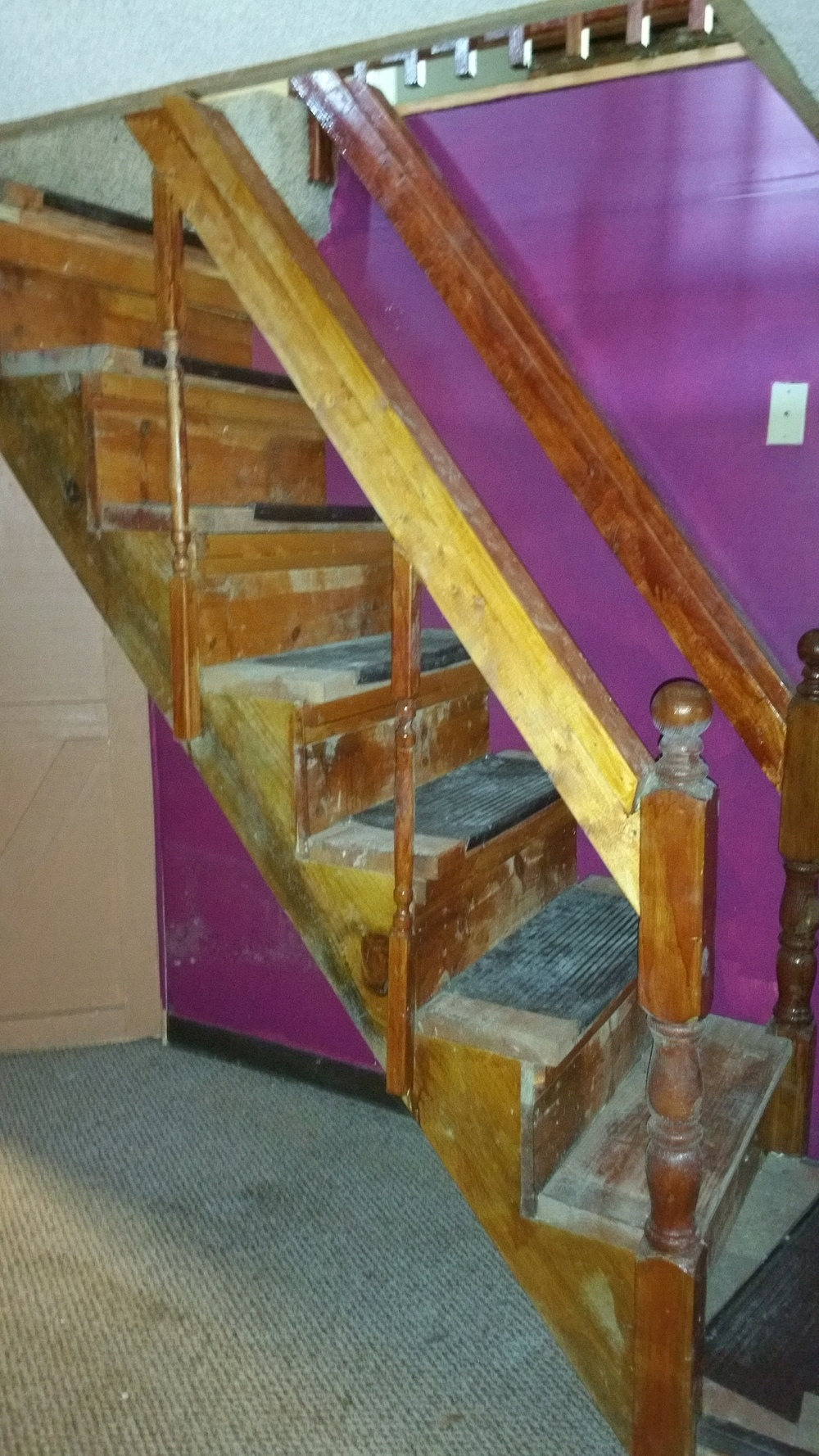 Totally improper installation of stairs that are also covered in mold.