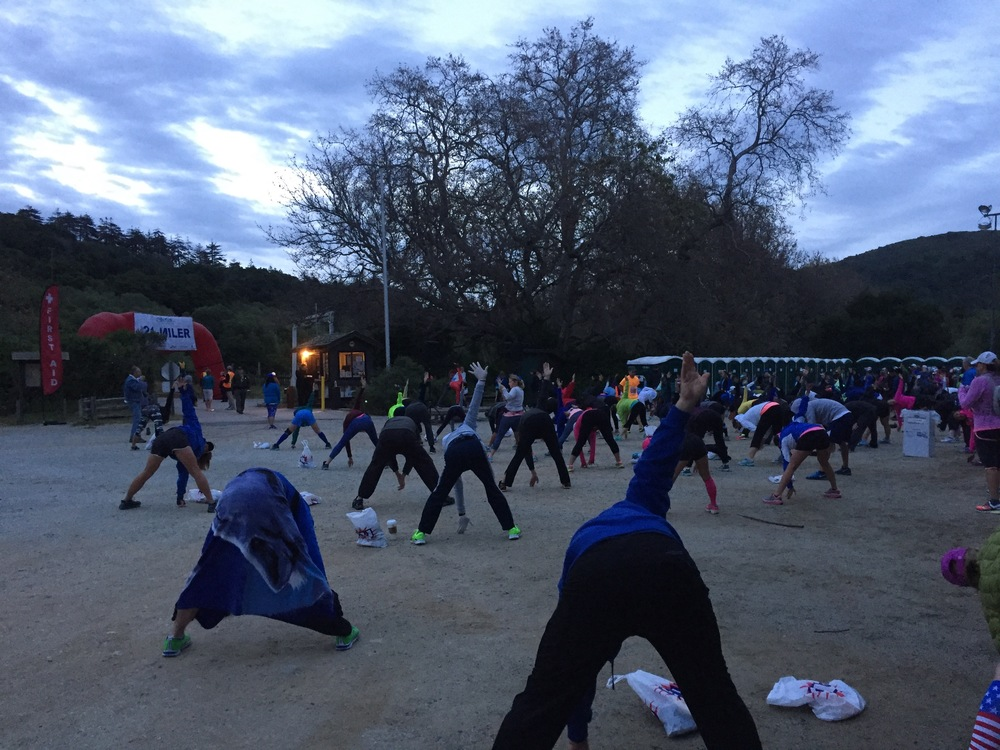 A little pre-race yoga as the sun came up