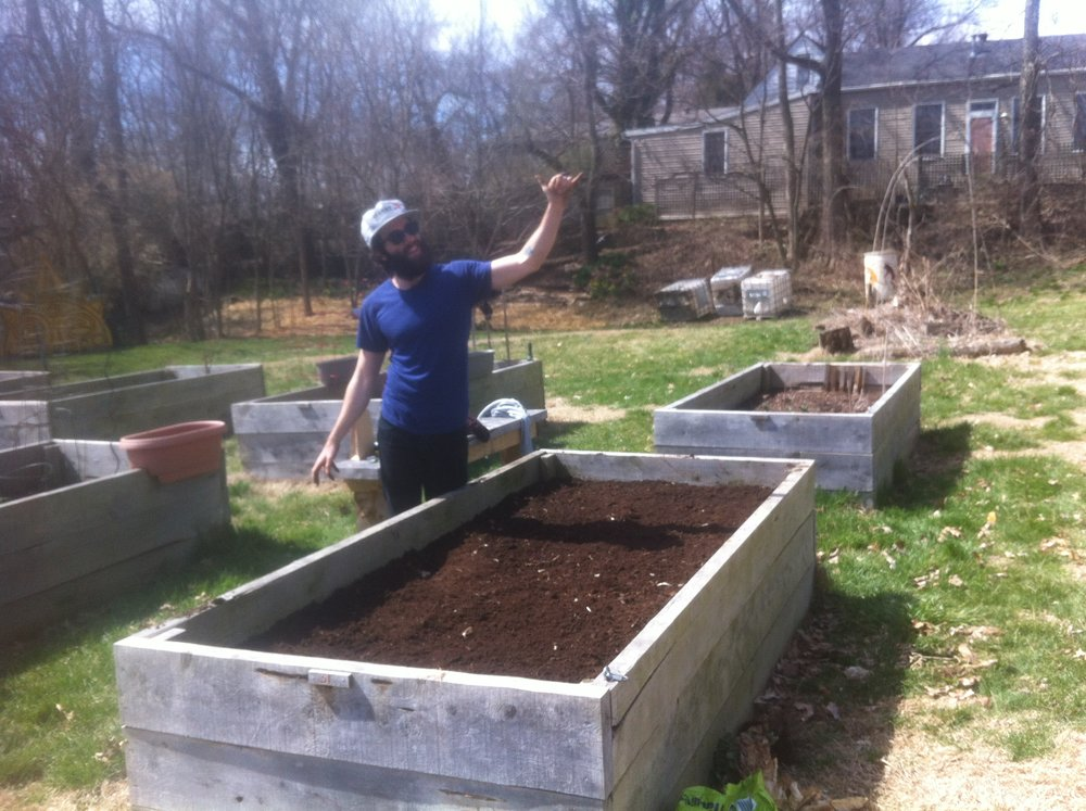 Our first garden together was a single raised bed we rented in an urban community garden in Louisville in 2015.