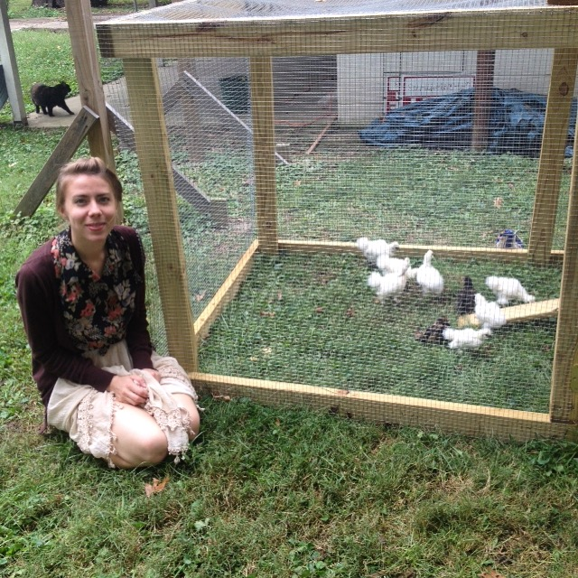 Brooke getting to know our first round of baby chicks, September 2015.