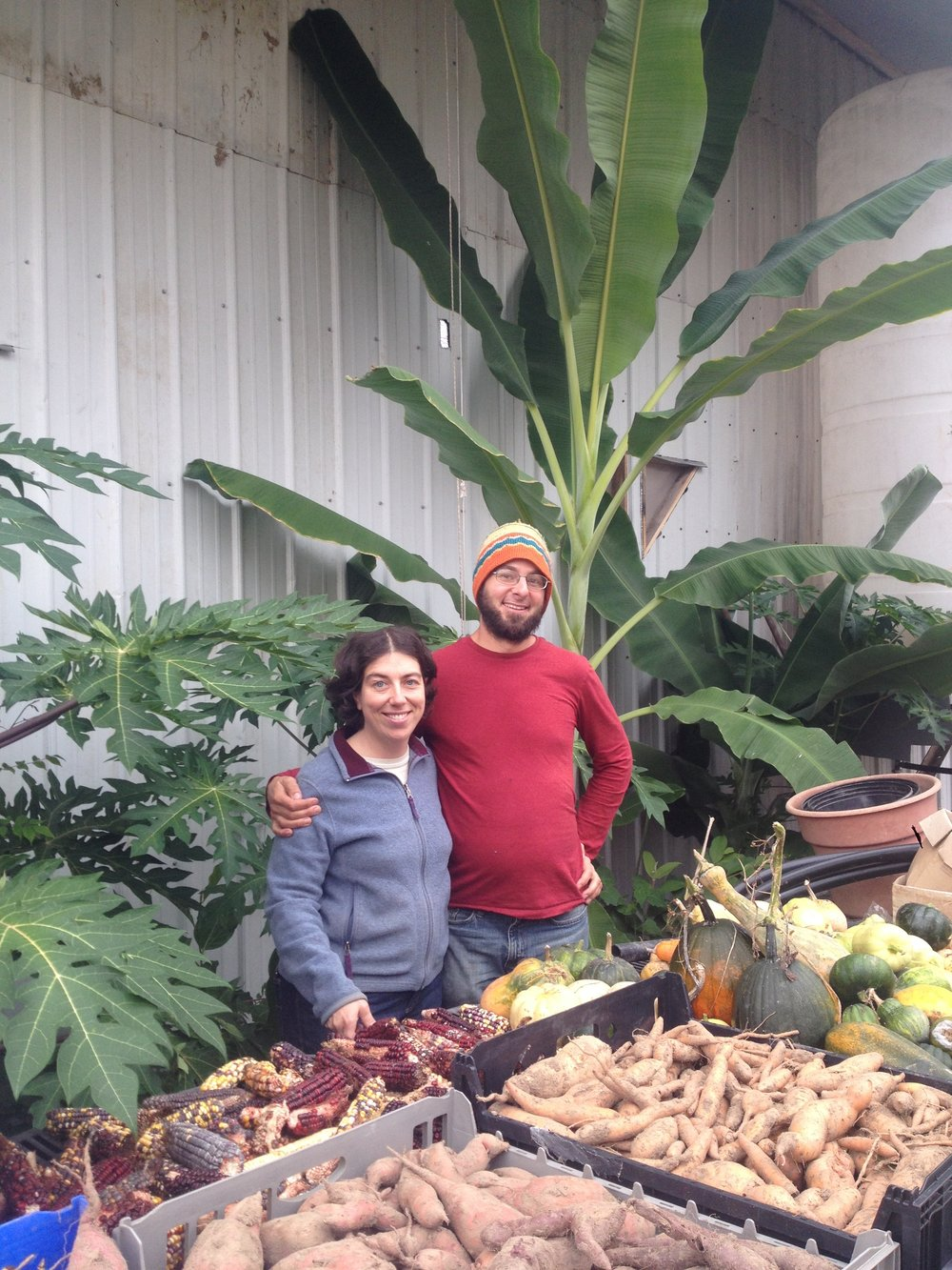 Espri and Darren pose in front of some tropical plants growing in their new greenhouse.