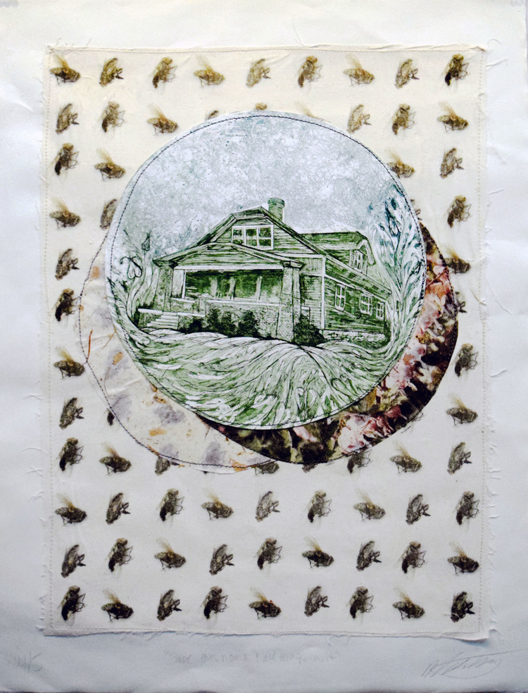 Save This Home & All Things in it    Muslin, photo transfer, stitching, intaglio, chine-collé - Edition of 5  22 x 30 in.   2014