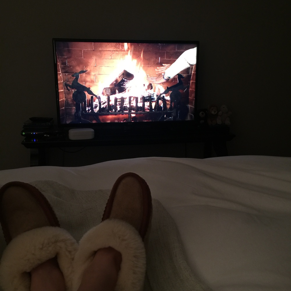 ...when you want your bed and to be next to the fireplace, click on the Telus Optic fireplace (#NestGoals- fireplace in the bedroom!)