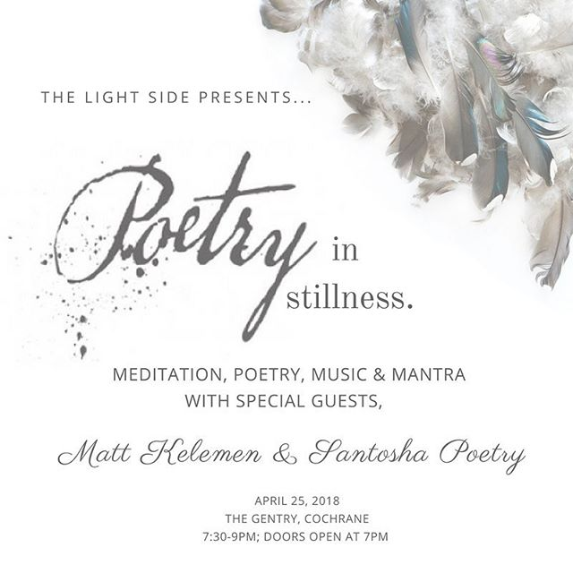 A new, creative collab happening April 25 @thegentrycoffee !  Music, meditation & poetry + coffee shop vibes!  #PoetryInStillness with special guests @monkeyogi & @santoshapoetry