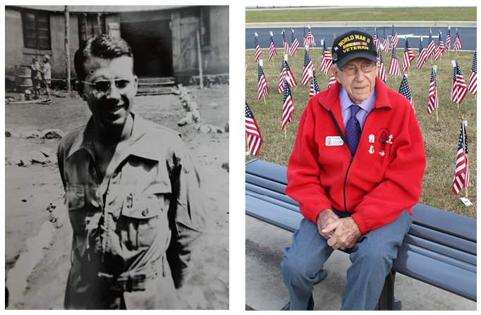 Edward Stever in 1945 and 2015