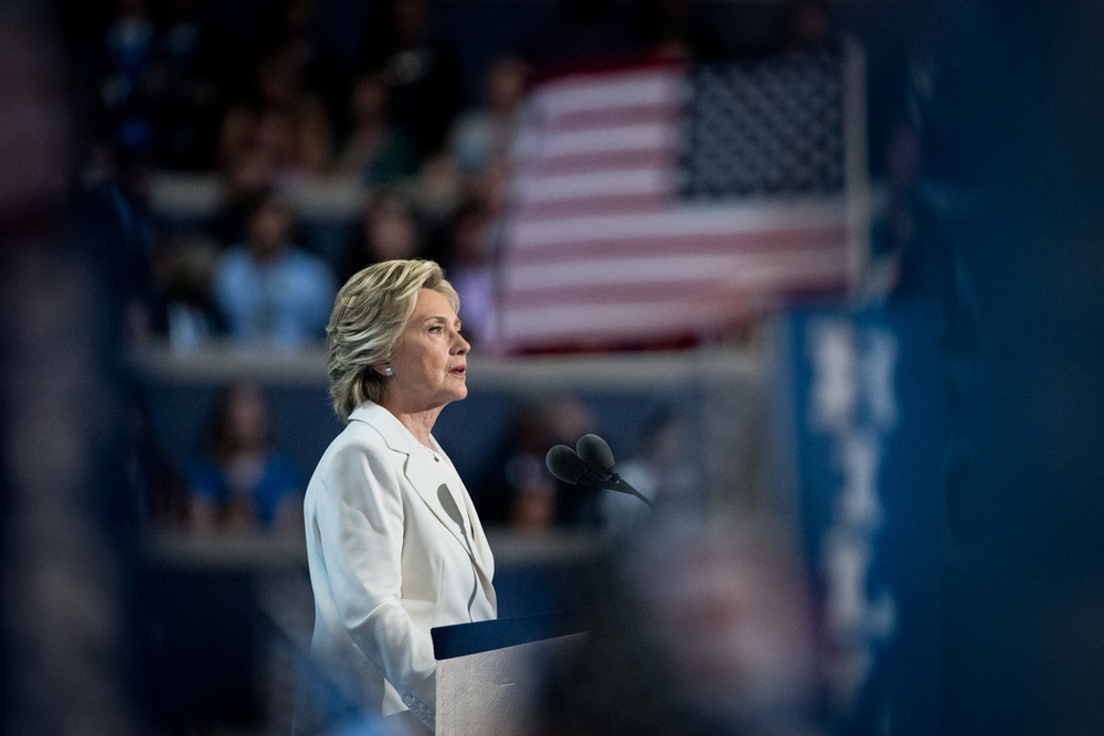 Democratic presidential nominee Hillary Clinton addresses the delegates at the Democratic National Convention inside the Wells Fargo Center in Philadelphia on Thursday July 28, 2016. (Michael Ares / Philadelphia Inquirer)