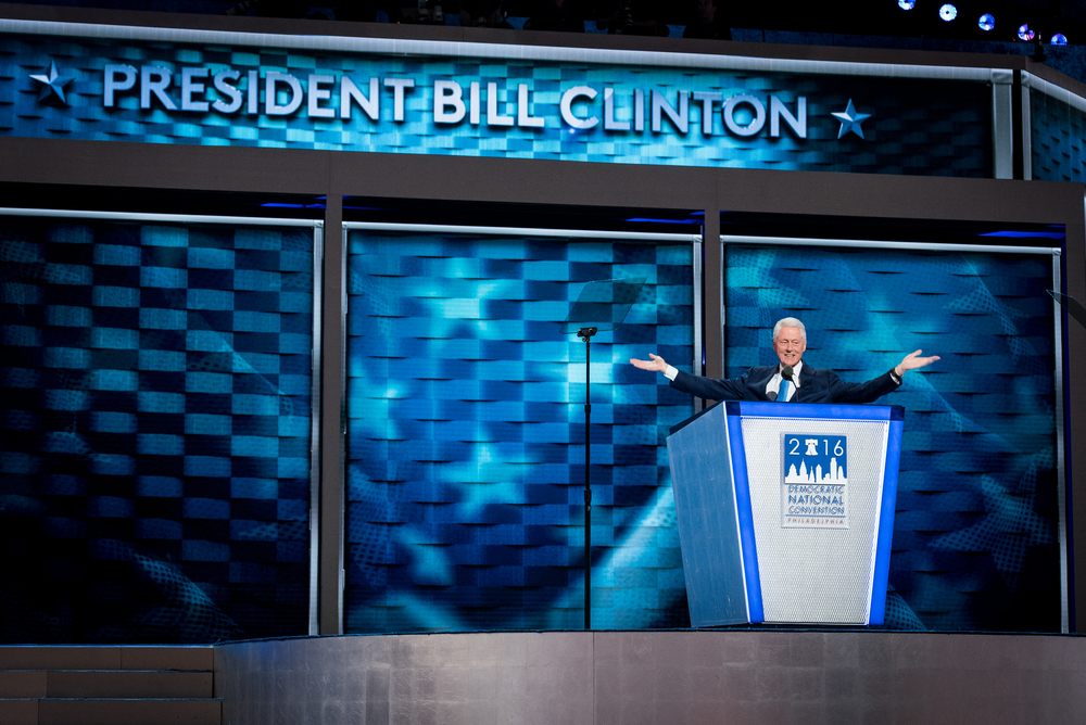 Former president Bill Clinton addresses the delegates at the Democratic National Convention inside the Wells Fargo Center in Philadelphia on Tuesday July 26, 2016. (Michael Ares / Philadelphia Inquirer)