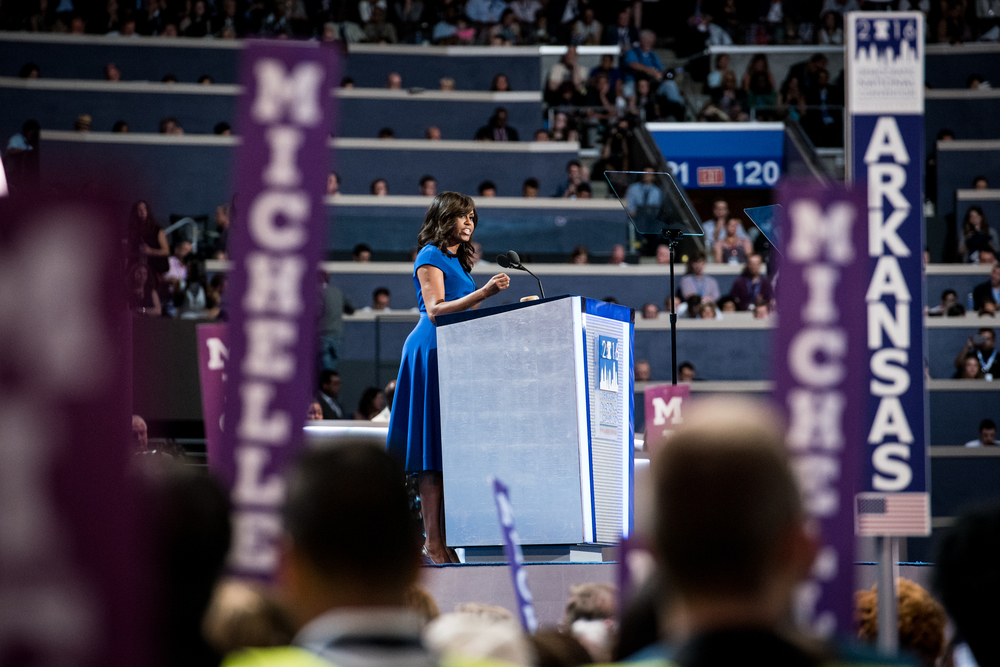 First Lady of the United States Michelle Obama addresses the delegates at the Democratic National Convention inside the Wells Fargo Center in Philadelphia on Monday July 25, 2016. (Michael Ares / Philadelphia Inquirer)