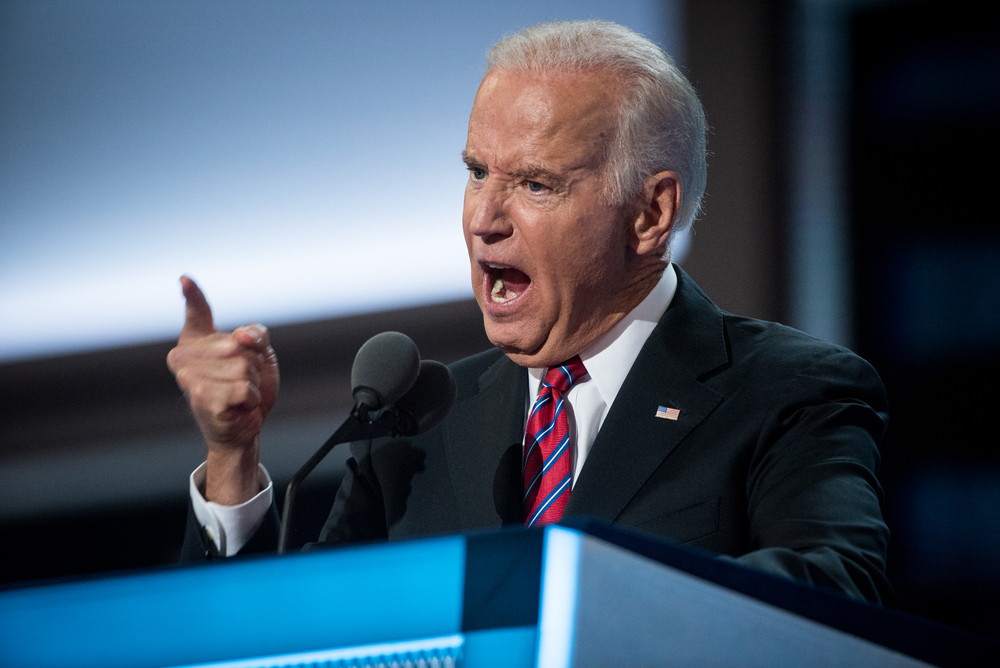 Vice President Joe Biden addresses the delegates at the Democratic National Convention inside the Wells Fargo Center in Philadelphia on Wednesday July 27, 2016. (Michael Ares / Philadelphia Inquirer)