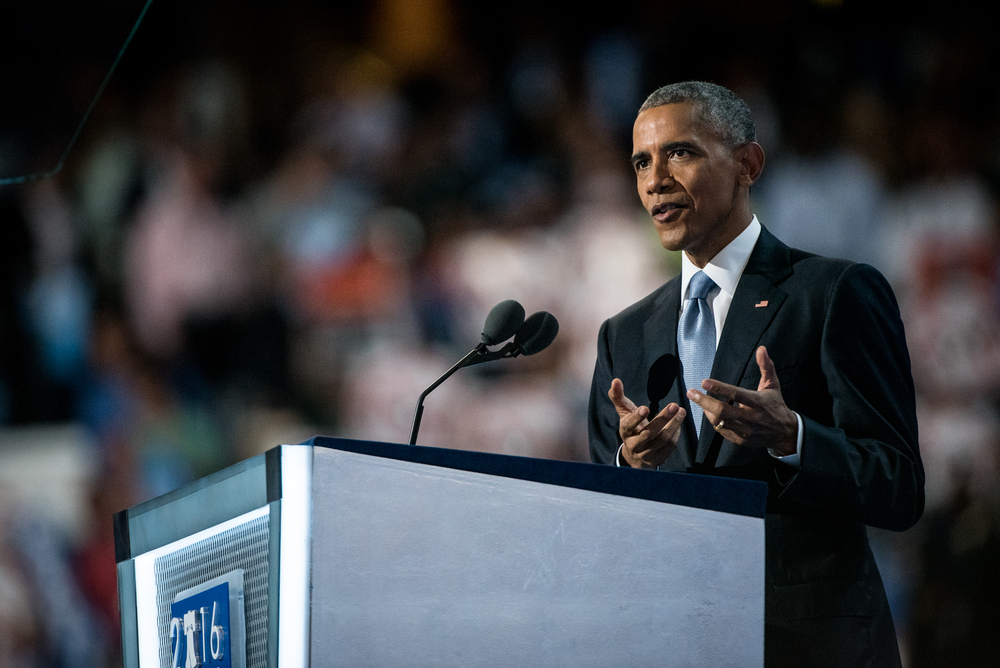President Barack Obama addresses the delegates at the Democratic National Convention inside the Wells Fargo Center in Philadelphia on Wednesday July 27, 2016. (Michael Ares / Philadelphia Inquirer)