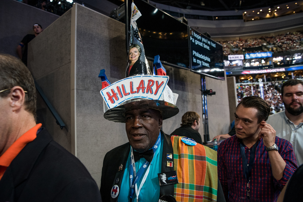 A delegate dons a Hillary Clinton themed hat during the Democratic National Convention at the Wells Fargo Center in Philadelphia on Thursday, July 28 2016. (Michael Ares / Philadelphia Inquirer)