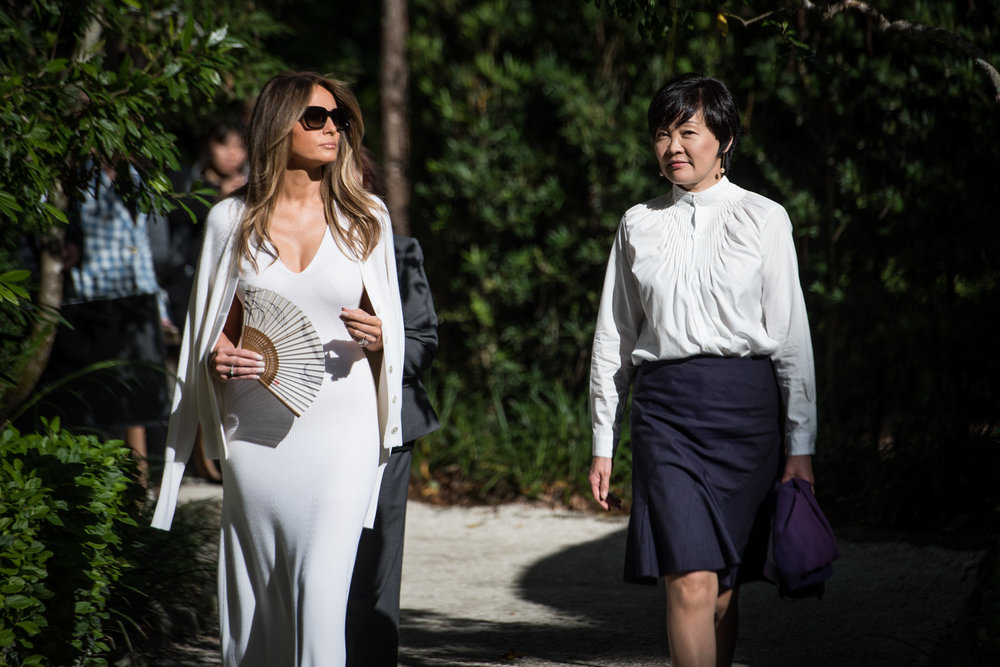 First Lady Melania Trump and Akie Abe, wife of Japanese Prime Minister Shinzō Abe take a tour of the Morikami Museum and Japanese Gardens in Delray Beach, Fla., on Saturday, Feb. 11, 2017. (Michael Ares / The Palm Beach Post)