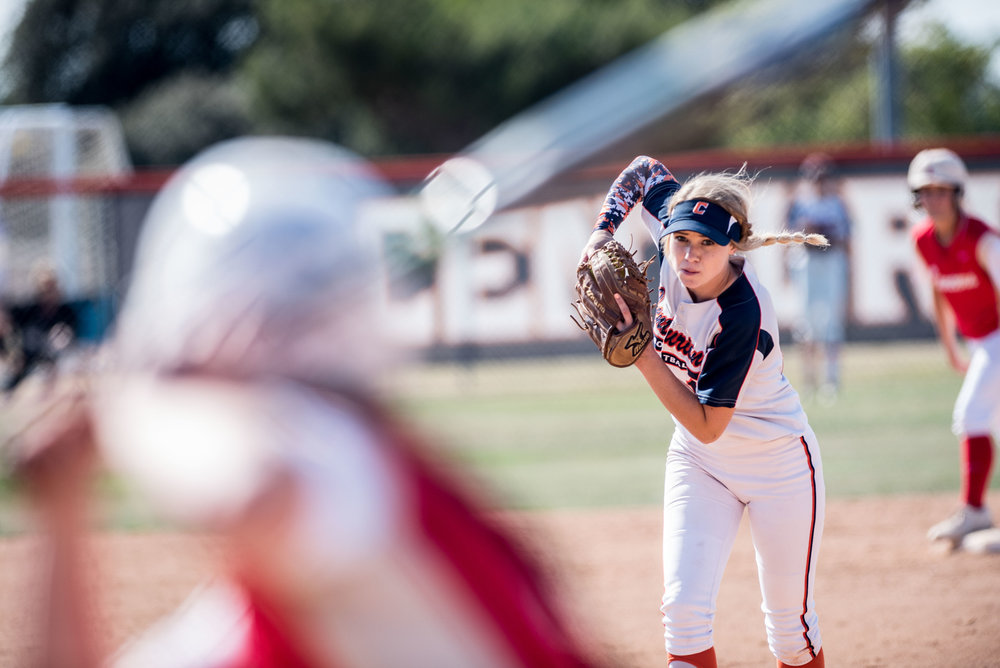 Cypress High School pitcher Maddy Byrd prepares to deliver a pitch against Orange Lutheran during the second round of the CIF-SS playoffs on Tuesday, May 24, 2016 in Cypress, Calif. (Michael Ares, Contributing Photographer, Orange County Register)