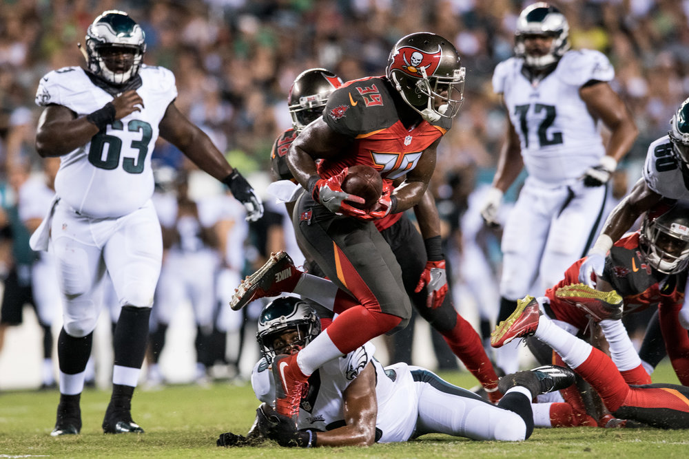 Tampa Bay Buccaneers safety Isaiah Johnson intercepts a pass   in the   third-quarter against the Philadelphia Eagles in a preseason game on Thursday, Aug. 11, 2016 at the Lincoln Financial Field in Philadelphia. (Michael Ares / Philadelphia Inquirer)
