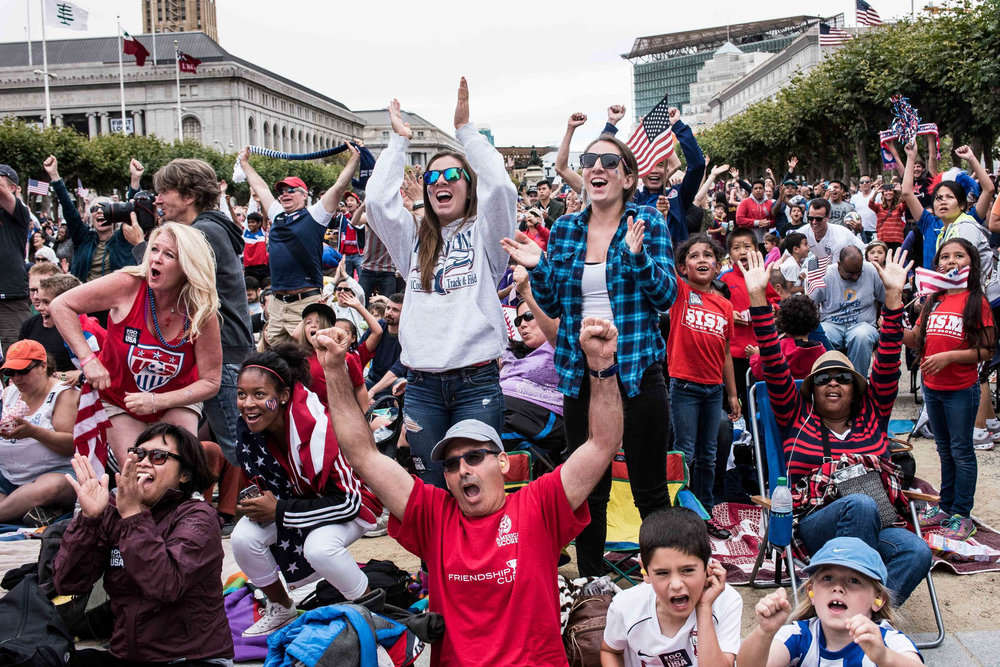 Fans watch the Women's World Cup soccer final between Japan and the United States from Vancouver, Sunday, July 5, 2015, at Civic Center Plaza in San Francisco. Team USA won, 5-2, securing the World Cup title for the first time since 1999. (Michael Ares / Special to the S.F. Examiner)