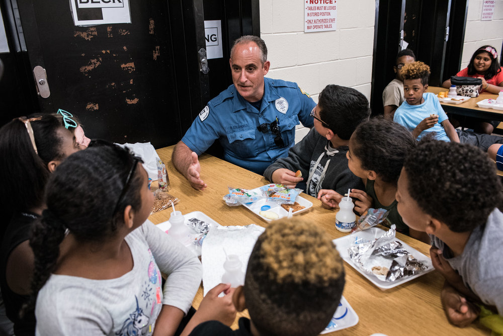 "Officer Robert Colangelo, a retired chief of the Camden County Park Police, is now an officer at the Osage School in Voorhees, N.J. Known as ""Officer Bob"" to students, he works hard to be a positive influence in their lives by constant interaction in hopes that they find trust in law enforcement. (Michael Ares / Philadelphia Inquirer)"