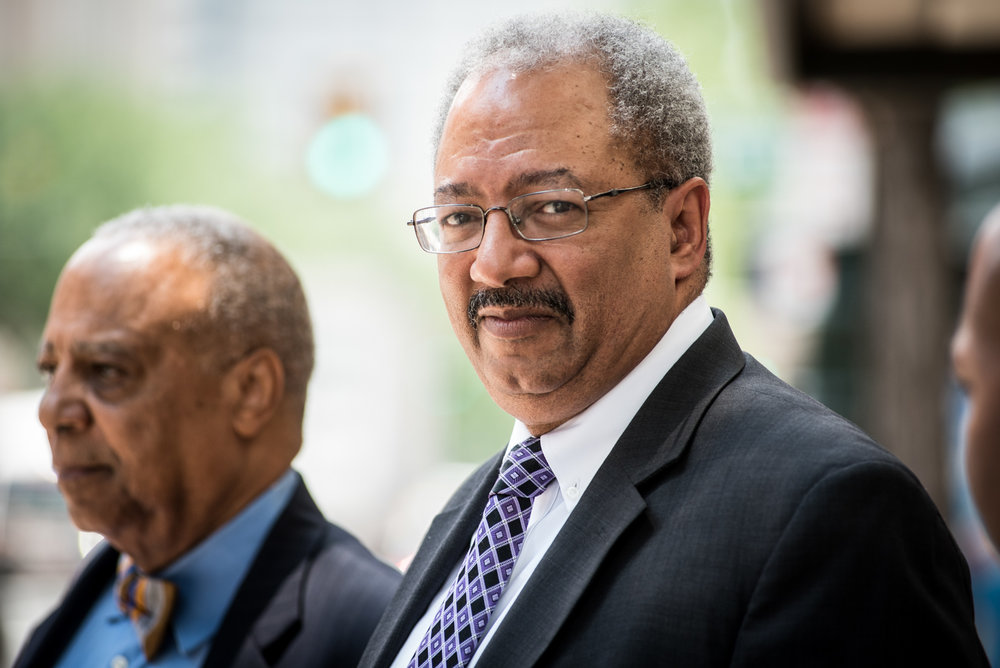 U.S. Rep. Chaka Fattah, D-PA, leaves the federal courthouse in Philadelphia after being convicted Tuesday, June 21, 2016.  Fattah, a veteran Pennsylvania congressman, was convicted Tuesday in a racketeering case that largely centered on various efforts to repay an illegal $1 million campaign loan related to his unsuccessful 2007 mayoral bid. (Michael Ares / Philadelphia Inquirer)