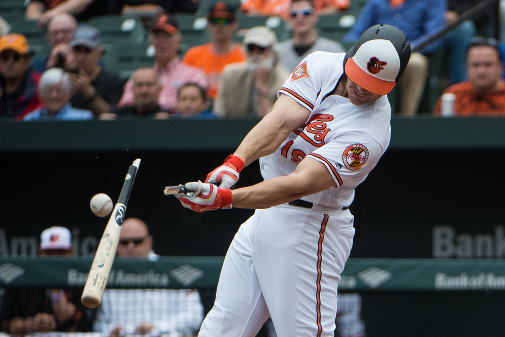 Baltimore Orioles first baseman Chris Davis #19 breaks his bat during a swing against the Minnesota Twins in the bottom of the second inning at the Oriole Park at Camden Yards on Wednesday, May 24, 2017. The Twins defeated the Orioles 4-3 to sweep the series. (Michael Ares / The Baltimore Sun)