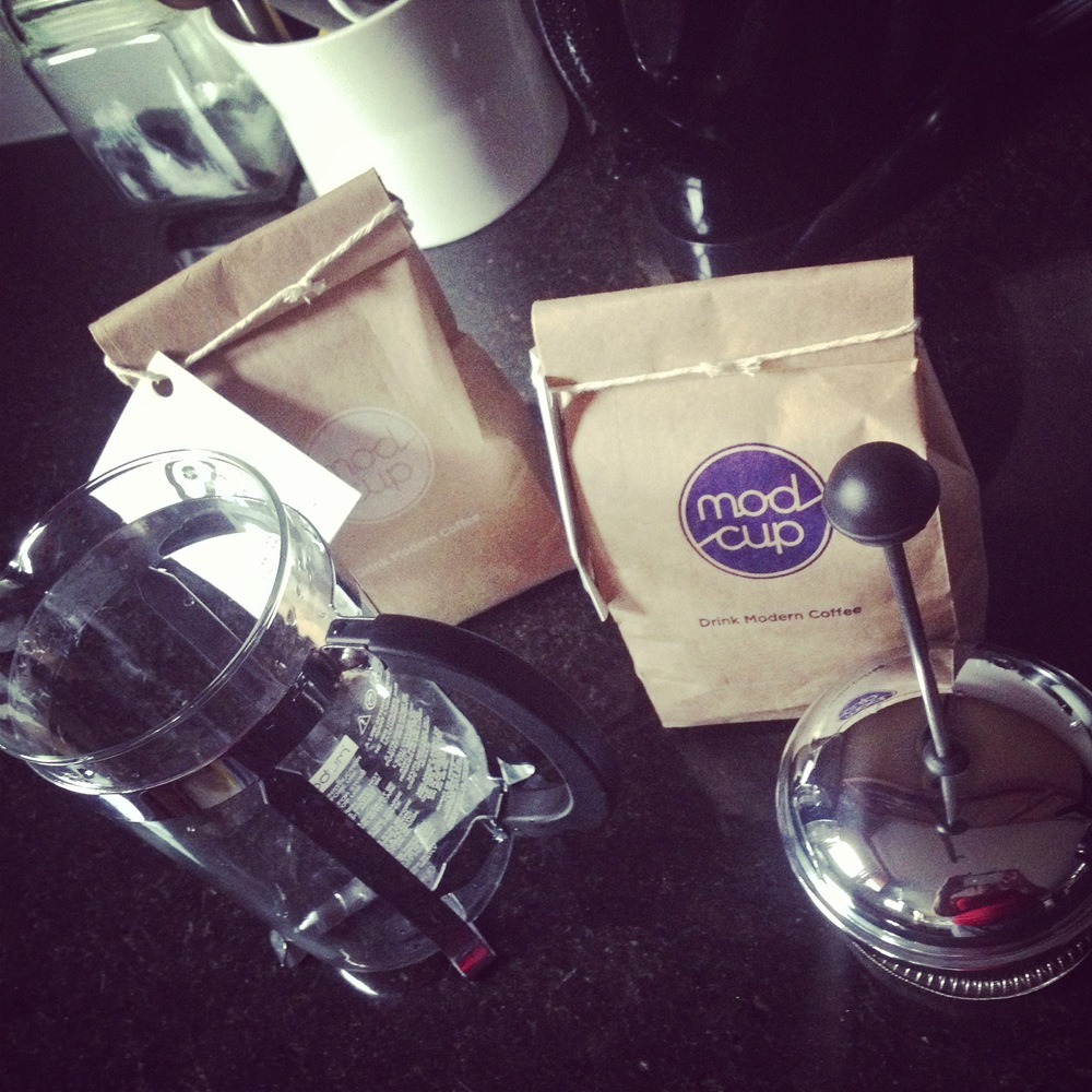 French press, check. modcup beans, check.