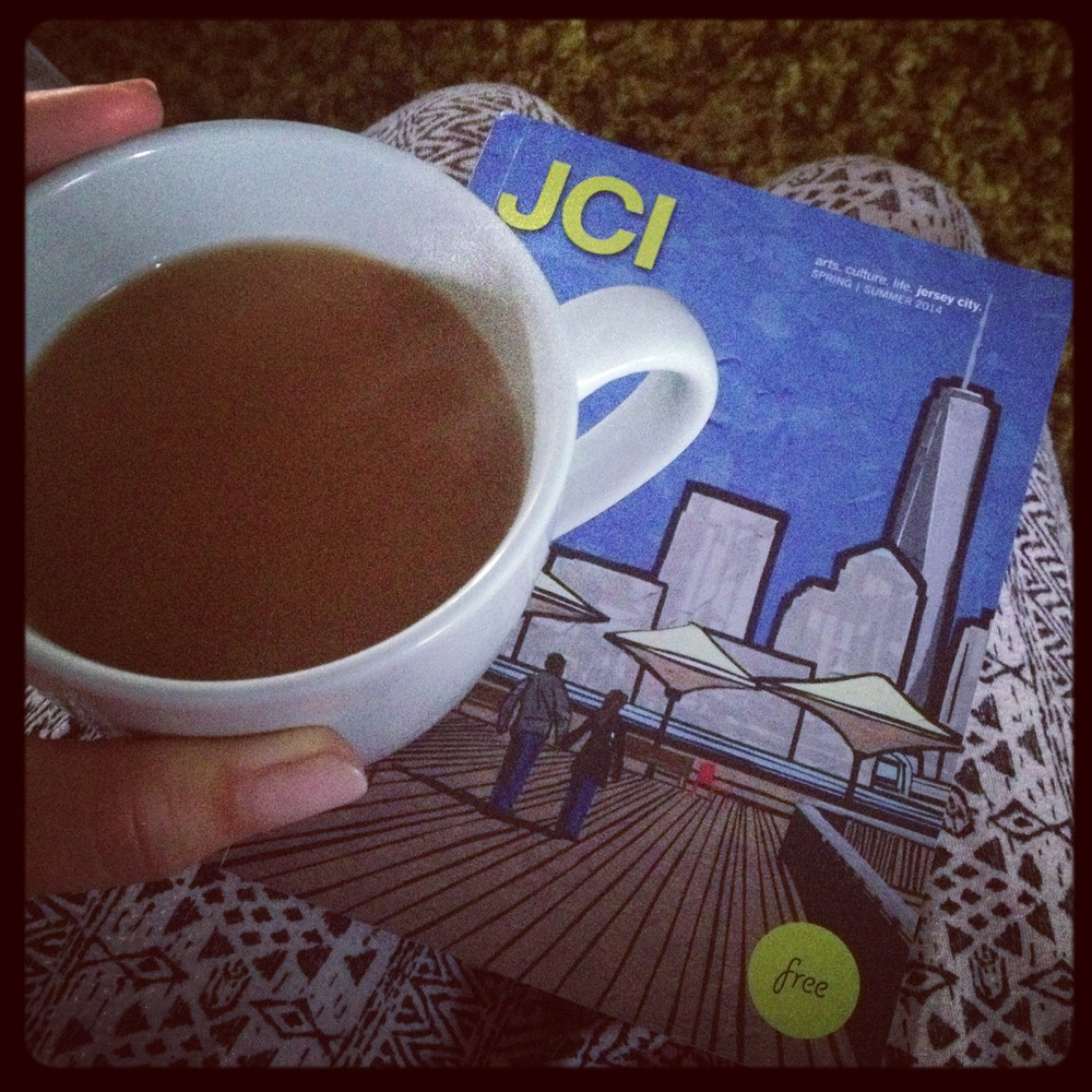 A little morning love: a cup of modcup Honduras blend, and the latest edition of the Jersey City Independent.