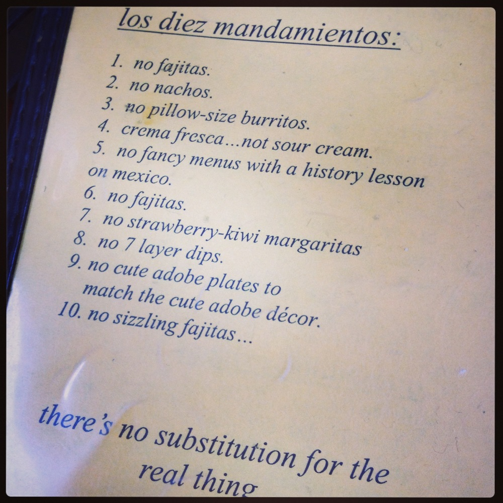 The ten commandments at Taqueria Downtown.