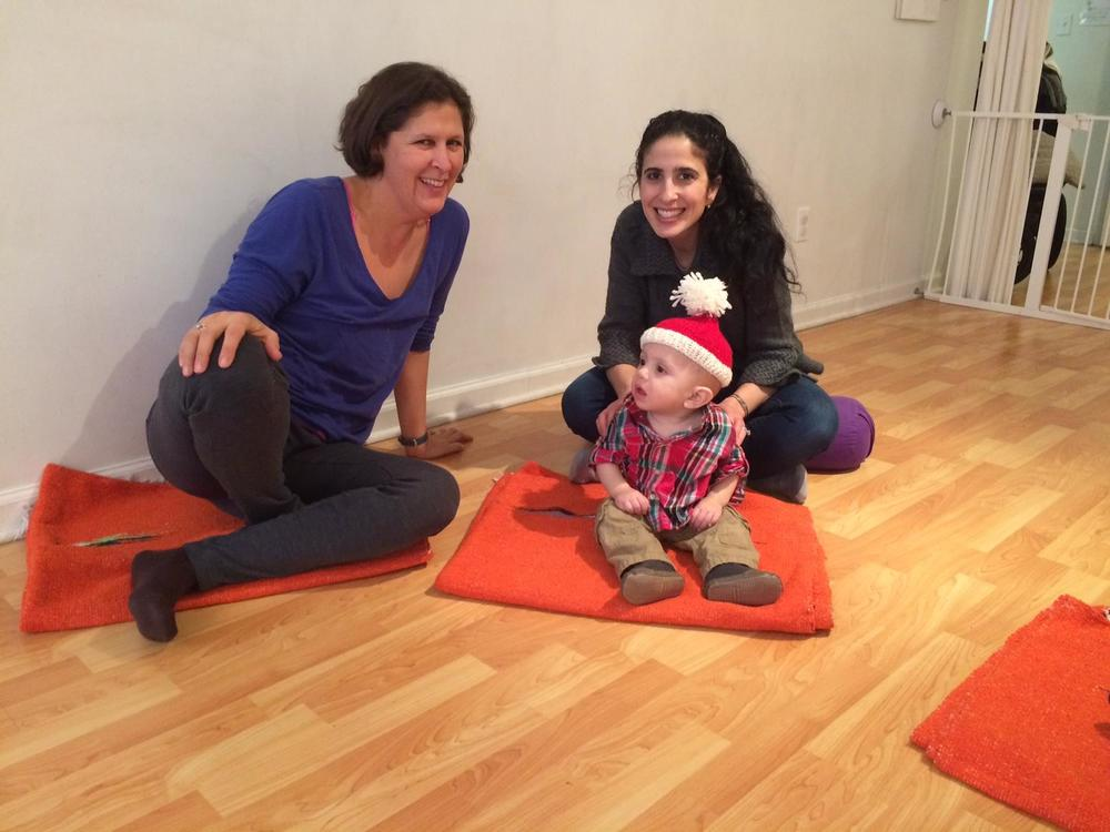 Michelle at Baby Yoga. Photo courtesy of three little birds' Facebook page.