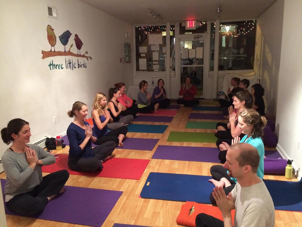 Vino  and Vinyasa with Michelle. Photo courtesy of three little birds' Facebook page.