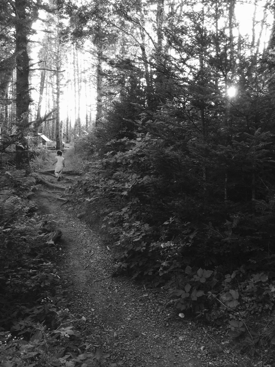 Hiking back up the Balancing Rock Trail.