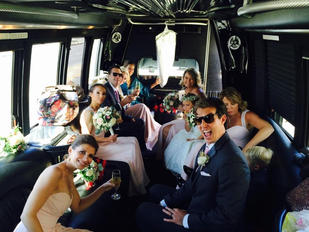 Wedding party bus, baby!