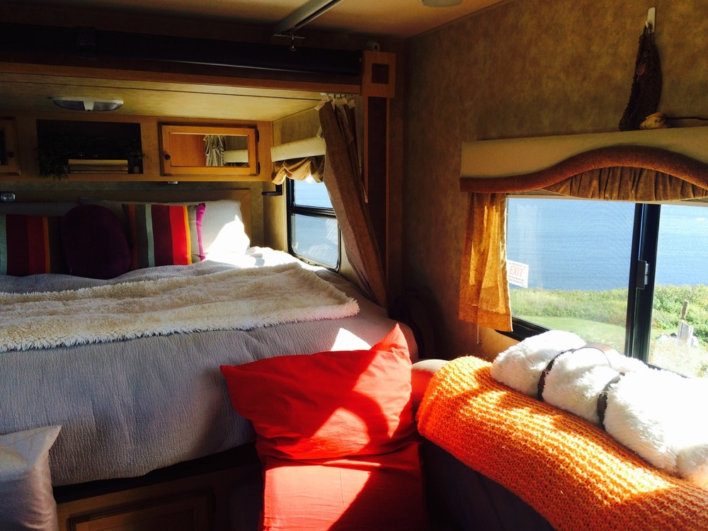 The sunrise views over the ocean and the island were breathtaking inside our trailer early in the morning.