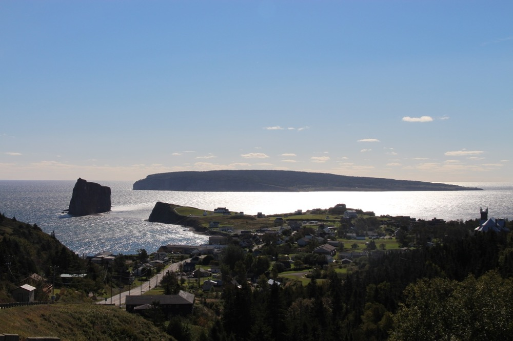 Looking down on Percé and its rock from above the town.