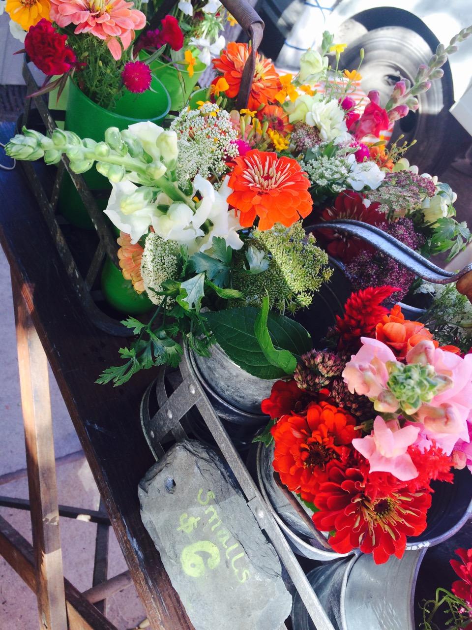 Flowers at the weekend Farmers' Market off Church Street in downtown Burlington.