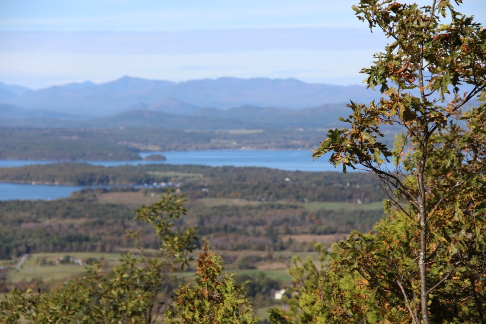 The views of Lake Champlain and the mountains from the top of Mt. Philo.