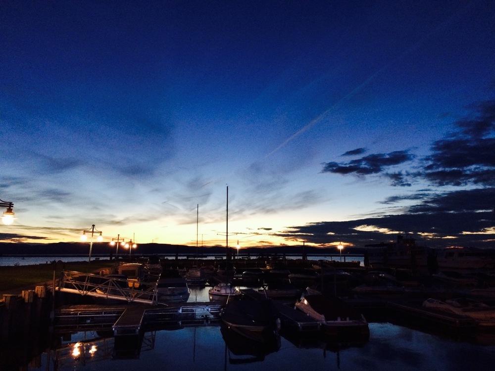 Goodnight, Lake Champlain. Waterfront in Burlington, VT.
