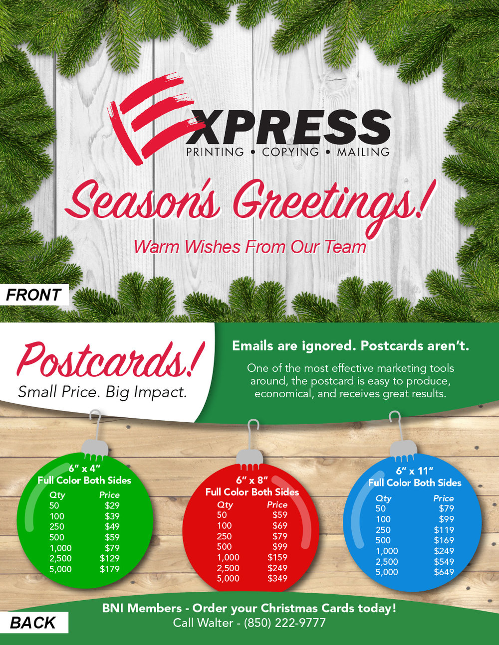 Express Printing Holiday Postcard Promotion - This is an 8.5 x 5.5 in. handout I designed to raise awareness of the holiday postcard promotion that Express Printing offers.