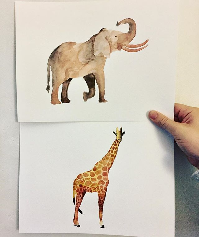 Sundays are for watercolors and working on the nursery #animalprints #watercolors #creativesoul
