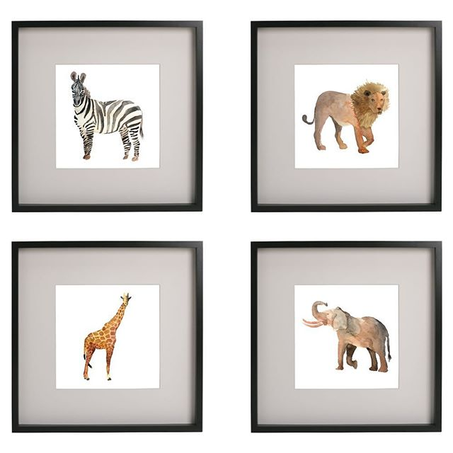 Watercolor prints for the nursery are done, and up for sale in my etsy shop! Link in profile  #watercolors #safarianimals #watercolorprints #genderneutralnursery #nurseryart