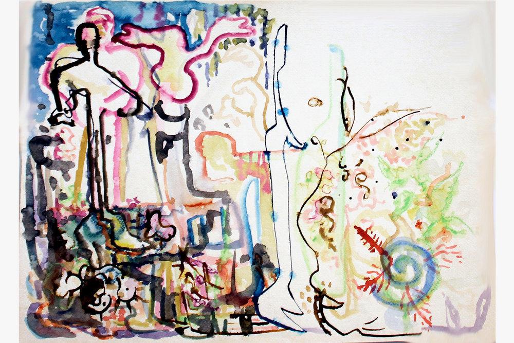 """ 23rd Street"" Mixed Media on Paper 18"" x 24"" (46 x 61 cm)"