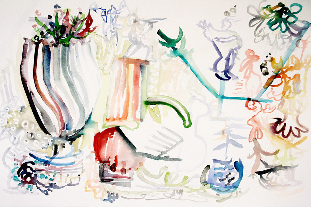 FAMILY REUNION Watercolor on Paper 22 x 30 inches (56 x 76 cm) Private Collection