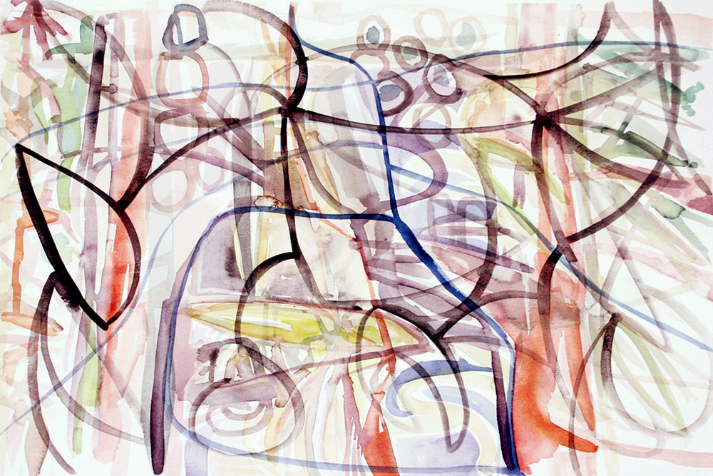 """ Intertwine"" Watercolor on Paper 22"" x 30"" (56 x 76 cm) Signed"