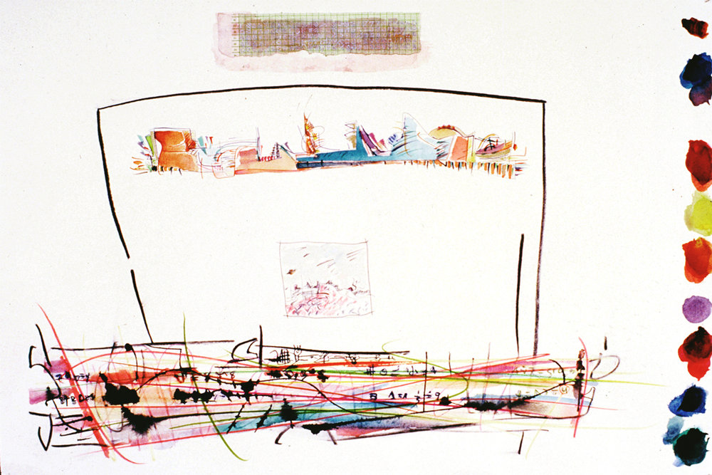 """"""" Three Worlds"""" Mixed Media on Paper 22"""" x 44"""" (58 x 111 cm) Signed"""