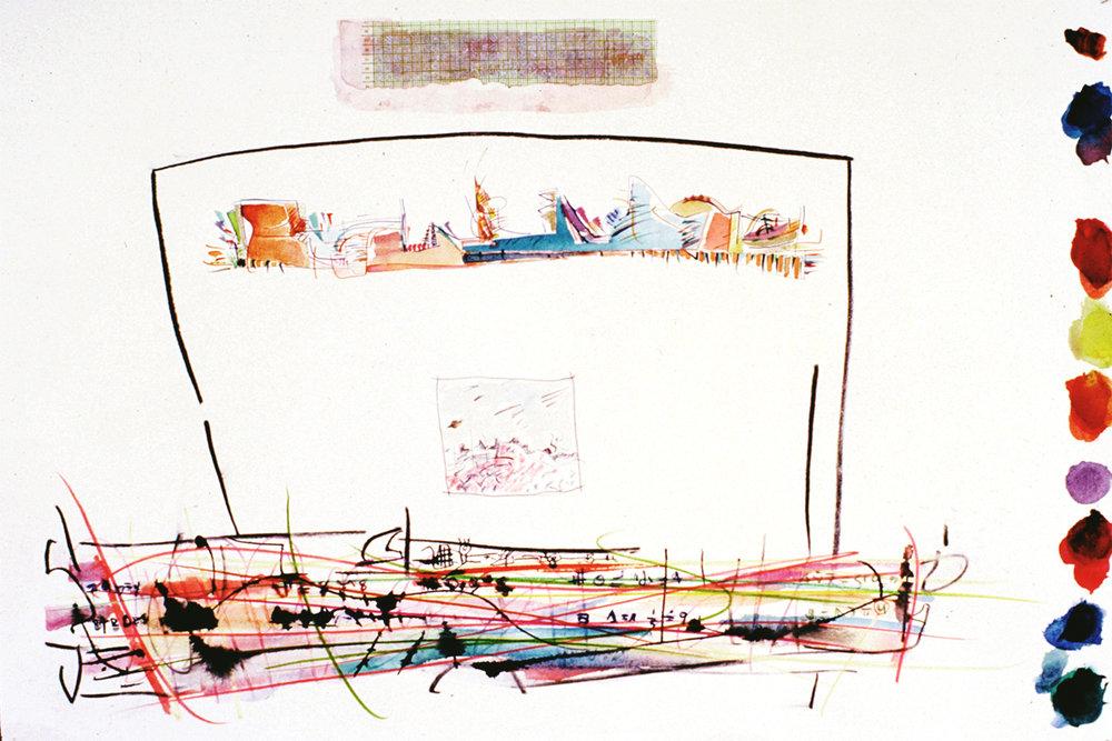THREE WORLDSMixed Media on Paper 22 x 44 inches (58 x 111 cm)