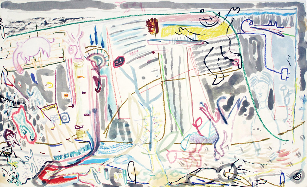 """""""Eighty On Second"""" Mixed Media on Paper 25"""" x 38"""" (64 x 97 cm)"""