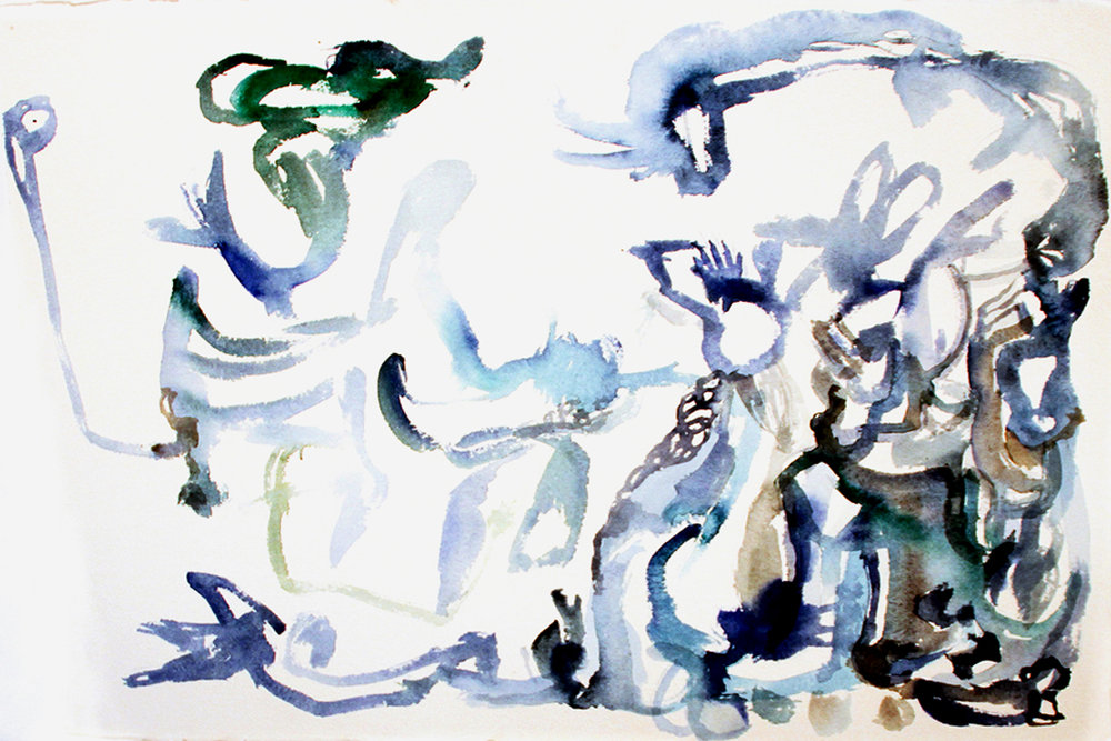 BLUE Watercolor on Paper 22 x 30 inches (56 x 76 cm)
