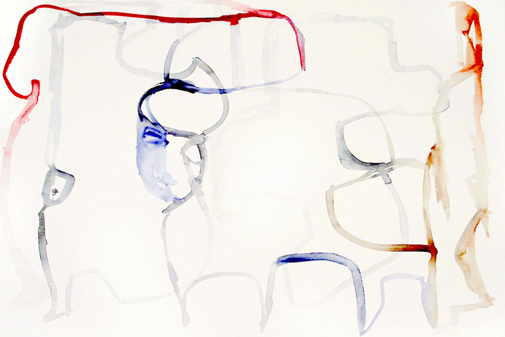 FIXATED Watercolor on Paper 22 x 30 inches (56 x 76 cm)
