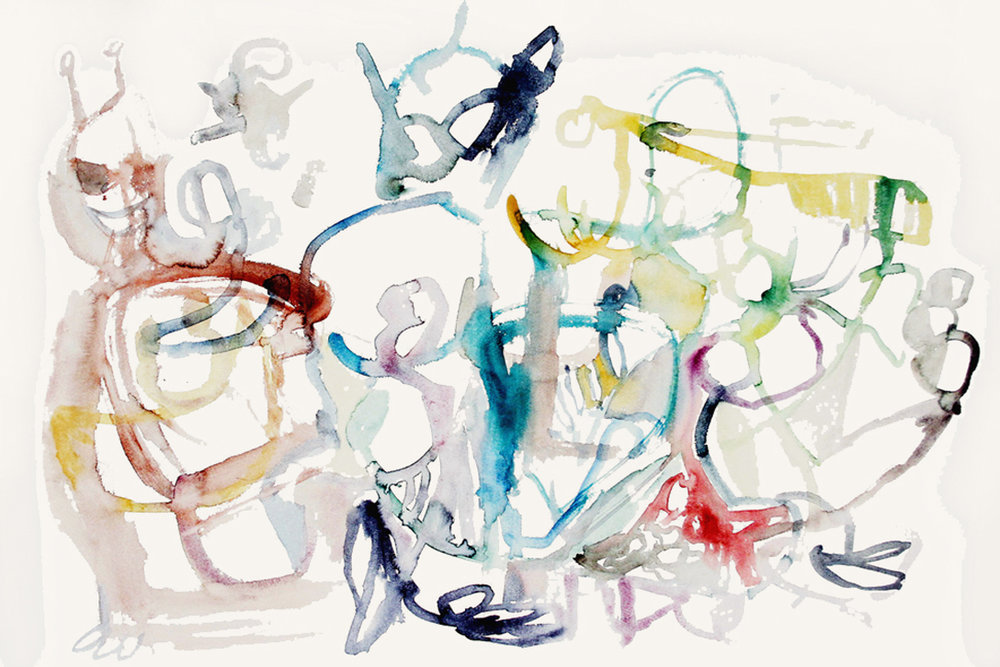 THEIR ARRIVALWatercolor on Paper 22 x 30 inches (56 x 76 cm)